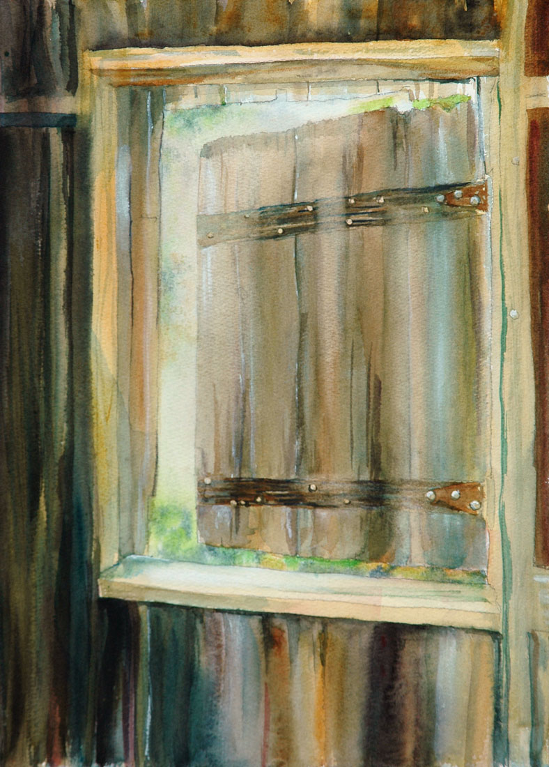 Barn Window watercolor painting