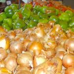 peppers and onions at the shuk