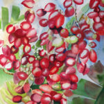 Palm Berries, painting in progress