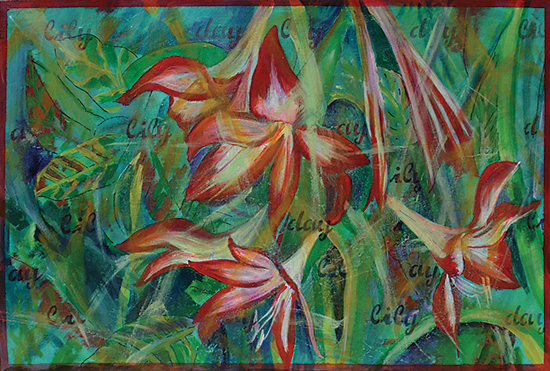 Daylily painting on canvas with title painted in flowing script