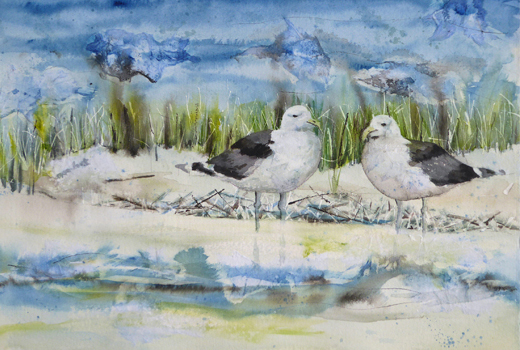 "Gulls-Conversation inspired by sea gulls flying close to the Singer Island beach. Mixed media on 100% rag Arches; 22"" x 15""; $750"