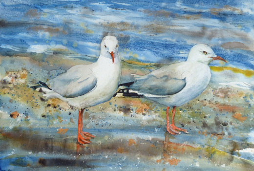 "Gulls orange Feet inspired by sea gulls flying close to the Singer Island beach. Mixed media on 100% rag Arches; 22"" x 15""; $750"