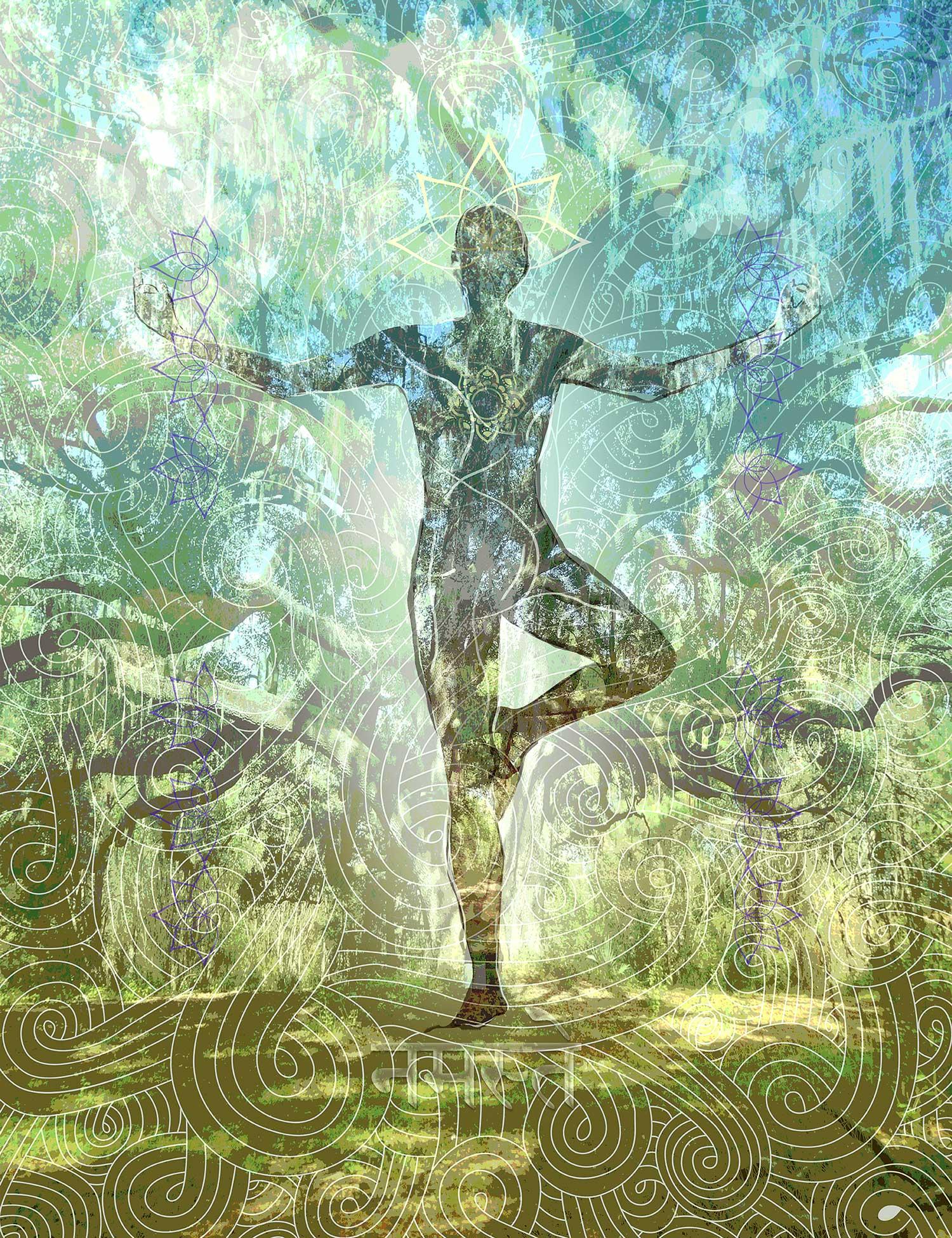 ancient oak tree pose yoga painting