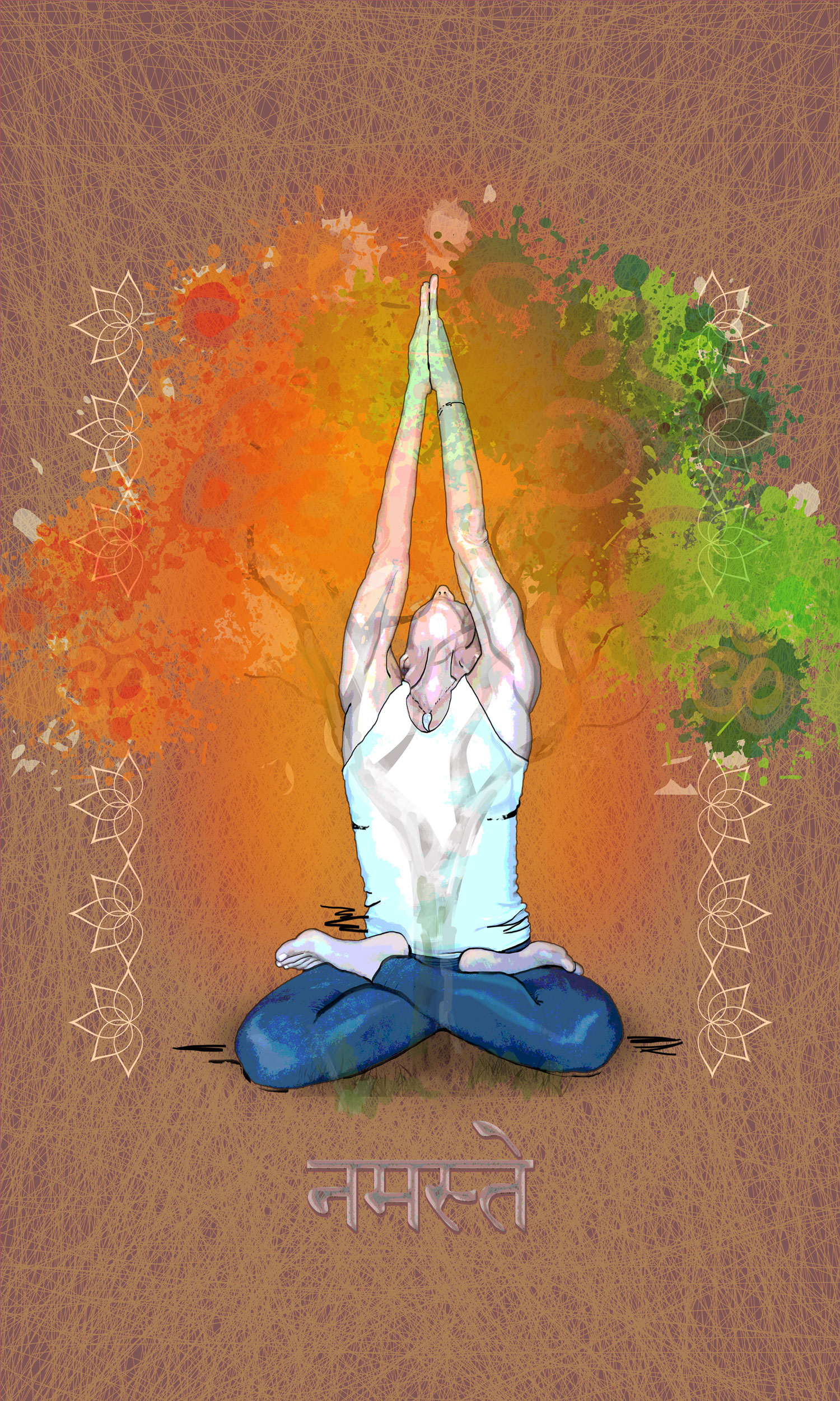 color burst yoga painting