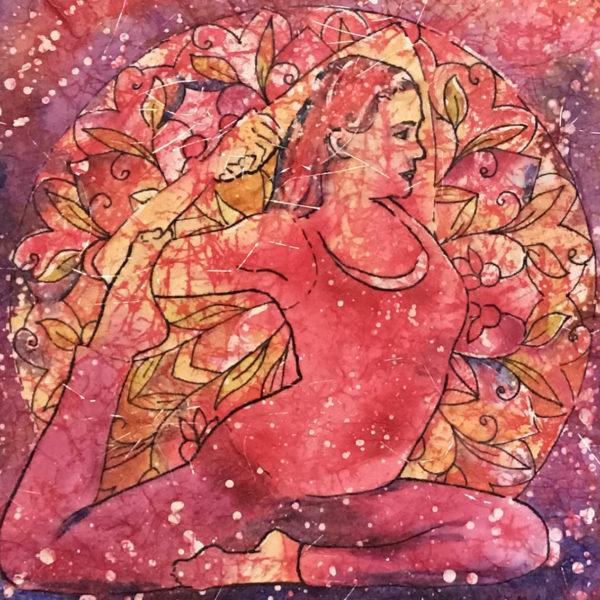 Eka Pada Rajakapotasana Watercolor Batik