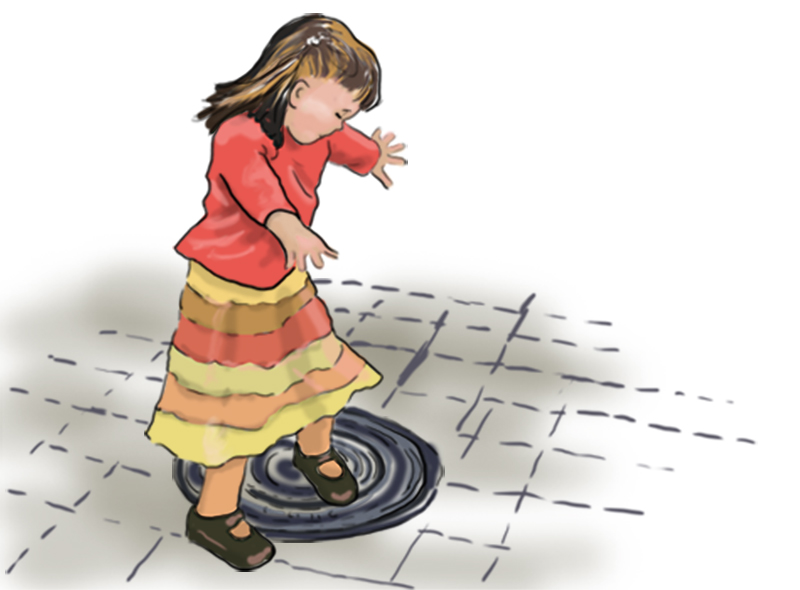 City Walk Twirling Illustration