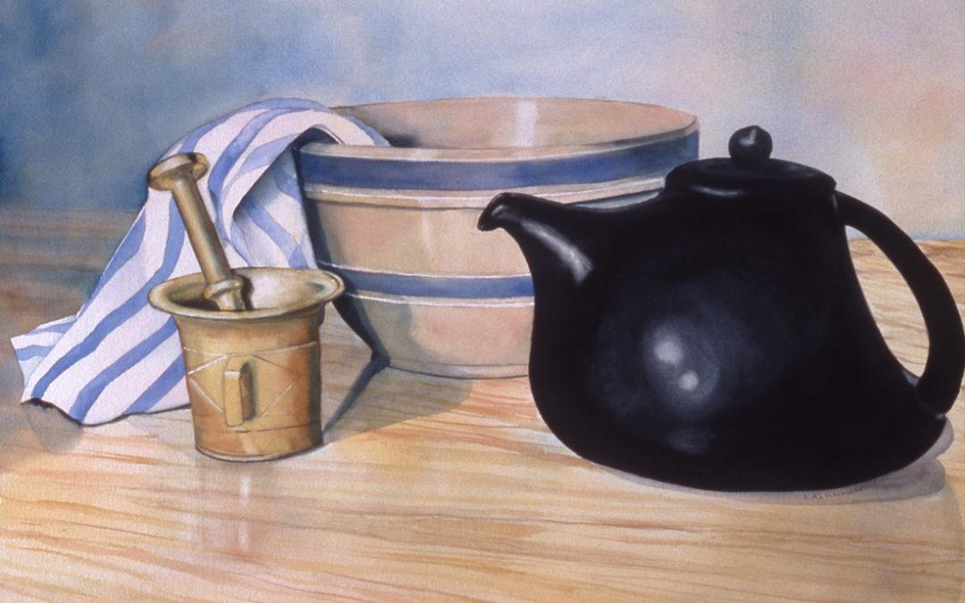 Teapot, Bowl, Mortar and Pestle