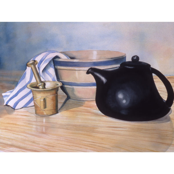 Teapot, Bowl, Mortar and Pestle