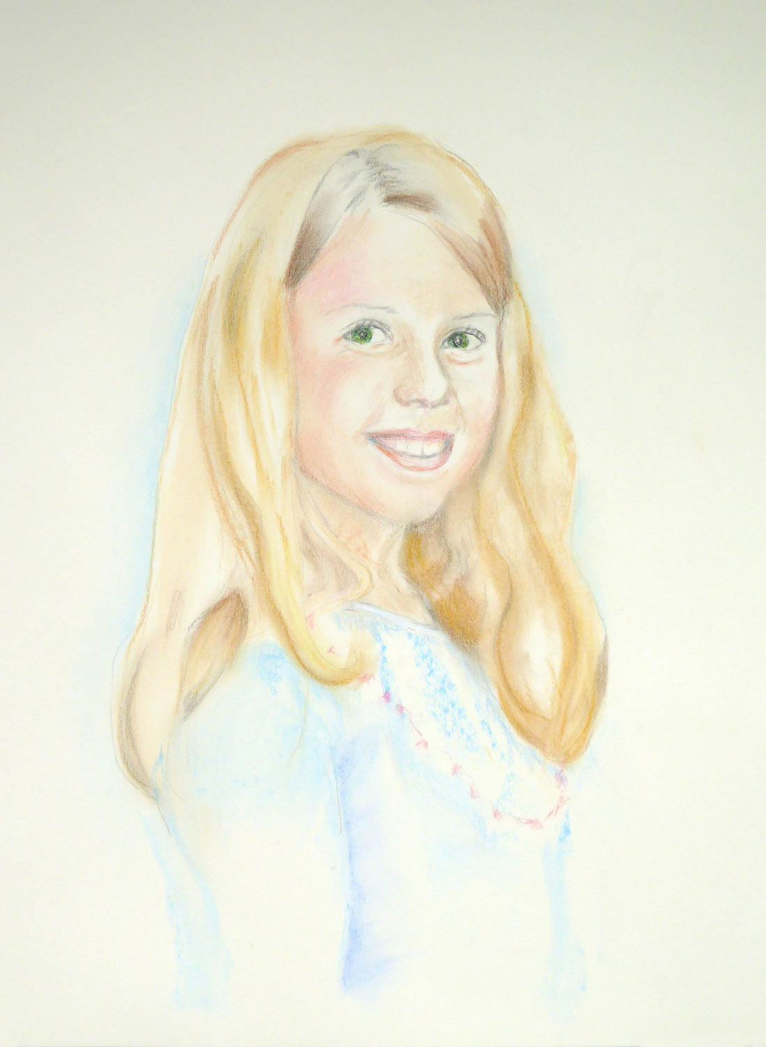 pastel portrait of preteen